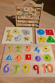 FOUR Wooden items - Picture, Number and shape Puzzles and an Abacus