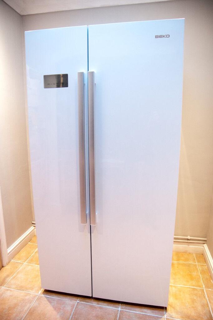 SOLD - Beko ASL141W American Fridge Freezer - Gloss White