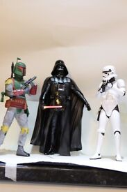 star wars trilogy of movie figures/statues