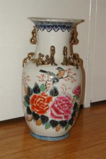 Very Large Japanese Peacock Vase Oriental  Flowers
