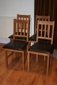 4 x Julian Bowen Coxmoor Oak Dining Chairs Faux Leather