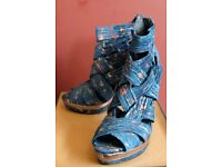 Lightly used Size 5 Office stiletto strappy ankle sandle, teal blue & pewter silver.