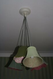 Multiple lampshade light fitting with sage green and patterned material shades £30