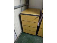 Filing Cabinet - with Key, 4 Drawer Pedestal, Oak Wood Finish, 43W x 72H x 60D