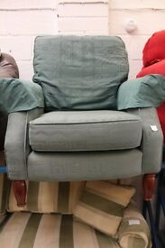 Aquatic green armchair (from Cambridge Re-use, a Charity Organisation)