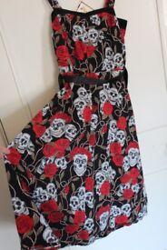 Black Skulls and Roses Dress, Size 10