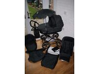 Babystyle Lux Prestige black leather pram with car seat 3 in 1 - caviar CAN POST