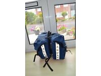 PAIR OF BLUE BICYCLE PANNIERS - YAK PAK- REFLECTIVE STRIPS