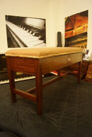 Large mahogany piano duet bench with music storage