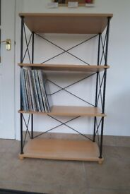 shelving unit with wood shelves and metal frame 66 X 33 X 110cm