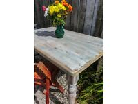 Rustic solid Pine, shabby chic farmhouse table.