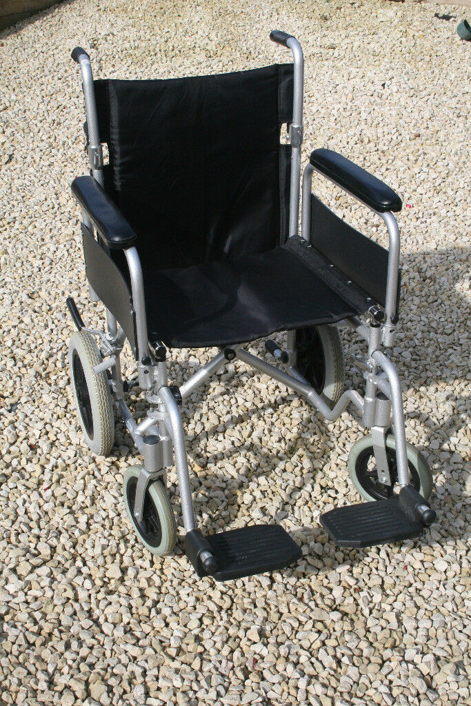 Lightweight aluminium wheelchair. Easily foldable for storage or transport. Excellent condition.