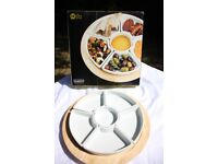 T&G Revolving Wooden Lazy Susan with Ceramic Dishes