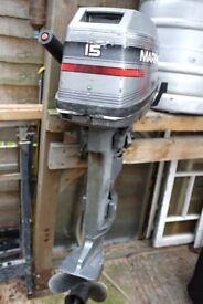 Mariner 15hp outboard motor two stroke.