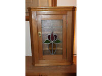 Pine Corner Cabinet Stained Glass Lead Brass