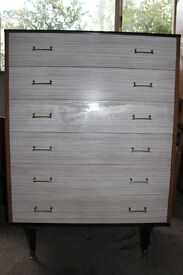 Rare Vintage Retro 1960s BERRY Grey Wood Grain MELAMINE Chest of 6 DRAWERS
