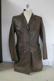 Leather Coat, Ladies, dark brown, size 42