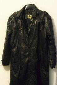 "Black Leather ""Great Seal of the State of Oklahoma 1907"" American Trench Coat to fit M/L"