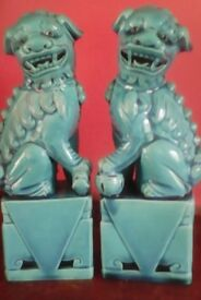Vintage pair Turquoise Blue chinese foo dogs