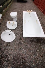 White Roca Bathroom Suite with steel bath and additional Shanks Worktop Basin