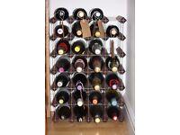 Wine Rack -metal frame and wood, 30 bottle storage