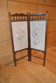 Antique Firescreen with tapestry inserts