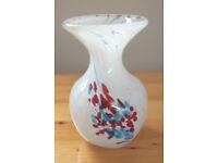 Vintage Mdina (Maltese) white swirl pattern heavy glass vase. £10 ovno.