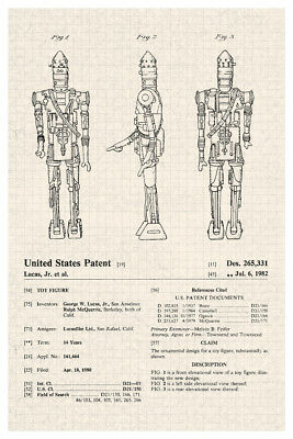 Robot Bounty Hunter Action Figure Toy Official Patent Diagram Poster 12x18