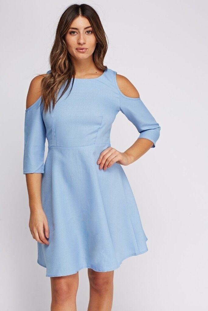NEW Womens Plain Cold Shoulder Skater Dress size UK 16 Blue  9b0e9ae31
