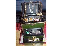 vintage jewellery box and jewellery
