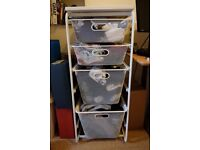Open storage shelves with mesh baskets, ALGOT from IKEA. White.