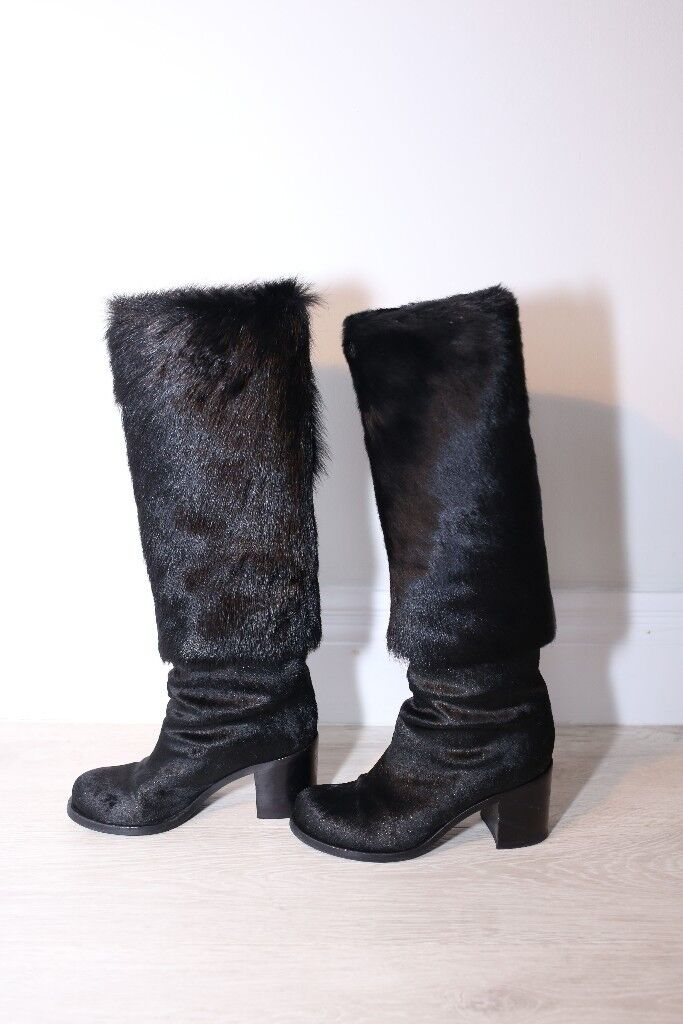 Authentic CHANEL Designer Black Fur and Leather Boots Size 4