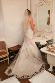 Pale Champagne colour size 12 but fits more like a 10. Intricately beaded overlay