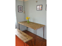 Industrial Kitchen Table and Bench Mid Century Style hairpin legs