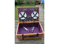 Vintage wicker picnic hamper