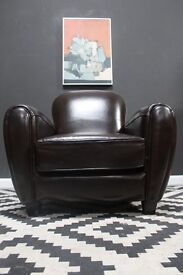 Retro club chair, classic shape. Gentleman's club armchair. Delivery available.