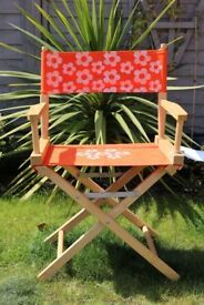 Wooden Folding Directors Chairs with Bright Retro Daisy Design ( 4 available)