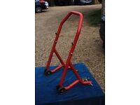 Motorcycle rear wheel lifter paddock maintenance stand