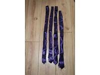 4 x new deep purple satin sateen ties wedding
