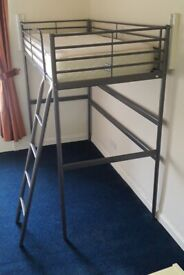 Single Brushed Chrome / Grey Silver Single Sturdy Metal Bunkbed (frame only) - Space Saving for Desk