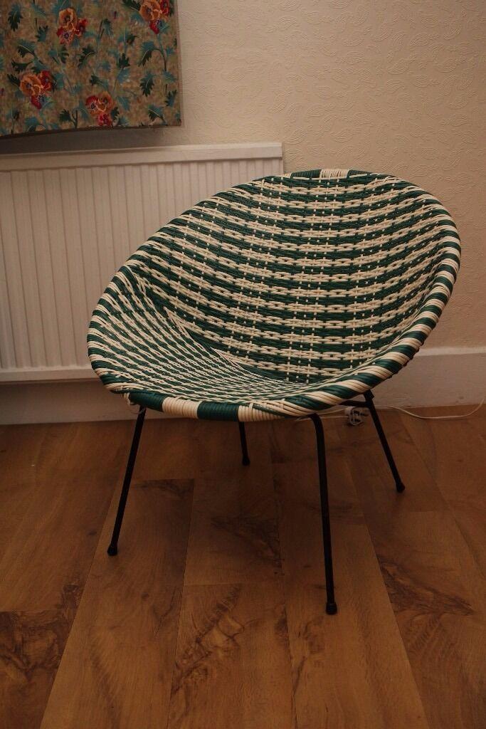Vintage 50s 60s Plastic Woven Lloyd Loom Satellite