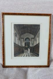 Antique Ackermann Aquatint of Jesus College Chapel Cambridge circa 1814