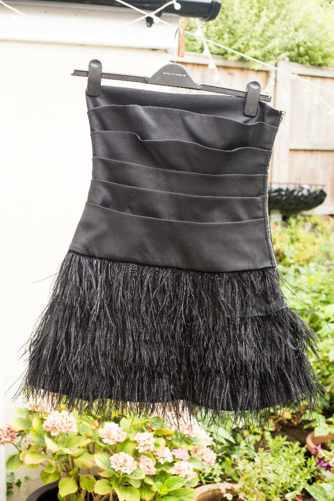 Vintage Black Tail Dress With Ostrich Feathers Skirt Size 12