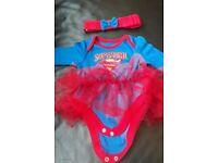0-3 months Supergirl baby vest & headband