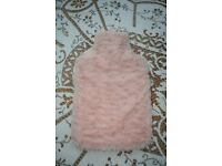 BABY PINK FLUFFY HOT WATER BOTTLE COVER & HOT WATER BOTTLE BOUGHT BUT HARDLY EVER USED BARGAIN CHEAP