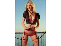 Sexy 4 piece 'Dress to kill' lingerie set and stockings. BRAND NEW IN BOX