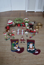 Christmas Decorations Job Lot including stockings x2 / reef /tabelwear / tree decorations