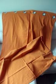 Single curtain orange 100% cotton eyelet