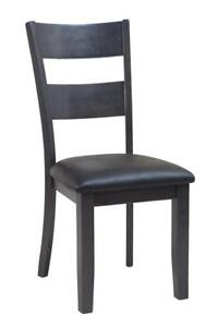 Four Sturdy Dining Chair In Dark Gray