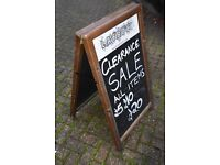 Chalk Board Sandwich Board Blackboard Sign for outside Shop - Can write on both sides